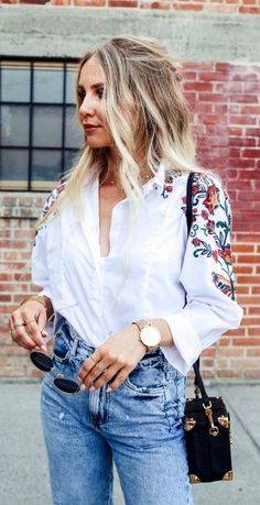Casual Boho Fashion Outfit Top Now as featured on PASABOHO ❤️ white boho chic embroidered shirt :: fashion trend :: embroidery flowers floral :: street wear :: lookbook :: boho style :: bohemian :: modern vintage :: high street fashion 2018 outfit ideas :: bohemian style :: gypsy style :: boho fashion :: hippie chic :: boho chic :: outfit ideas :: boho clothing :: free spirit #PASABOHO