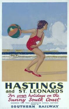 1940s Hastings travel poster