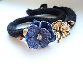 Comfortable Black Knitted Headband with Denim and Gold Flowers and Beads