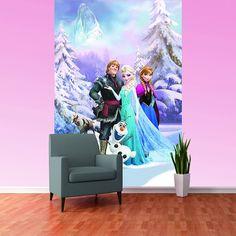 Disney Frozen Anna Elsa Olaf Sven Bedroom Mural Wallpaper