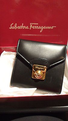 7ebe03750a6 VERY CUTE SALVATORE FERRAGAMO TRI-FOLD BLACK WALLET WITH BOX