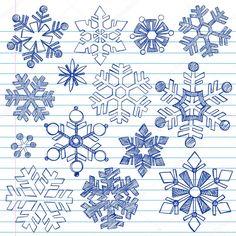 Stáhnout - Sněhové vločky zimní dovolené útržkovité notebook čmáranice — Stocková ilustrace #7898816