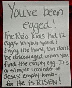 Operation Youve Been Egged!- put eggs with goodies in someones yard for a fun easter service project with the kids!