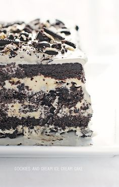 Cookies and Cream Ice Cream Cake made with homemade chocolate pound cake!