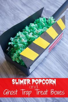 Slimer Popcorn recipe and Ghost Trap Treat Boxes tutorial #CatchMoreData #Ghostbusters #ad