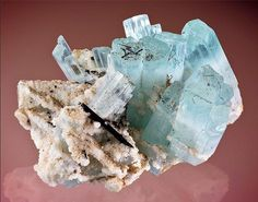 Bi-color Aquamarine-Goshenite with Schorl on Microcline.  The cluster is impressive with full terminations and a nice contrasting mix of Schorl crystals in various sizes. The Beryls could best be described as a 50/50 split, with the bottom half being Goshenite and the upper half blue Aquamarine. From Baha, Braldu Valley, Baltistan, Northern Areas of Pakistan. Measures 7 cm by 9 cm in size. CRYSTALS MINERALS GEMSTONES FOSSILS ROCKS Credit: Joe Budd Photography for Exceptional Mnerals