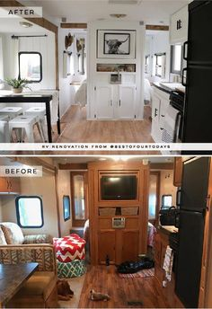 Camper Makeover Discover This Nashville Couple brings new life to outdated campers! This Nashville Couple brings new life to outdated campers! Come see the before and after photos of their Forest River RV transformation! Nashville, Motor Home Interior, Boat Interior, Remodel Caravane, Camping Vintage, Vintage Campers, Vintage Trailers, Travel Trailer Remodel, How To Remodel A Camper