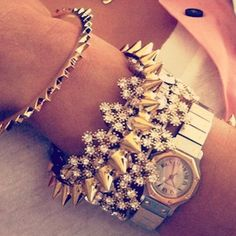 layered bracelets & cartier watch