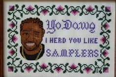 """So the whole """"pimp my ride thing"""" was played out so many years ago but I still chuckled when I saw this cross stitch!"""