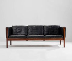 Hans Wegner Three-Seater Sofa AP62 in Black Leather and Rosewood, Denmark 1962