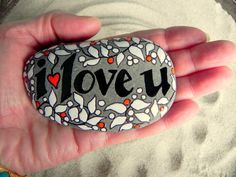 I love you - pure and simple  /  Painted Rock / Cape Cod/ Sandi Pike Foundas. $38.00, via Etsy.