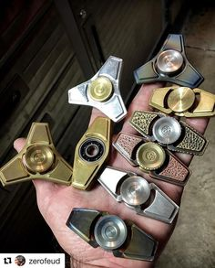 Spinner Nation! Amazing craftsmanship, can't wait to get one of these guys to show you all! #Repost @zerofeud with @repostapp ・・・ What's your favorite?? My personal collection of my personal spinners.  #ZeroFeud  Sweeeet collection of Spinners. I need them all ❤ Check out our range of awesome Fidget Spinners @www.dizzyspinners.com Fidget Spinners & Toys On Sale Now
