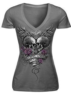 """Women's """"Eternal Love Skull"""" Tee by Lethal Angels (Grey)"""