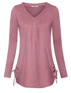 Women's Long Sleeve V Neck Casual T-Shirt Pleated Drawstring Top Blouse - Pink - Clothing, Tops & Tees, Blouses & Button-Down Shirts Source by clothes tops Curvy Women Fashion, Latest Fashion For Women, Womens Trendy Tops, Casual Skirt Outfits, Ladies Dress Design, Blouse Designs, Marie, Fashion Outfits, Clothes For Women