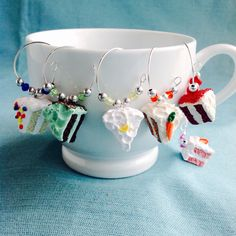 Cake Slice Wine Charms, Set of 6, Coffee or Tea Cup Charm, Hostess Gift, Red Velvet, White, Chocolate, Mint, Carrot, Lemon, Strawberry Cake by KatarooClay on Etsy
