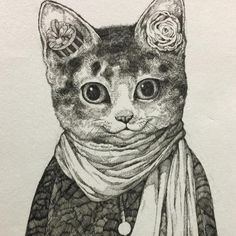 by yuko higuchi Art And Illustration, Illustrations, I Love Cats, Crazy Cats, Cute Cats, Cat Coloring Page, Fairytale Art, Animal Projects, Animal Sketches