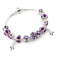 Pandora inspirerad armband i lila med charms