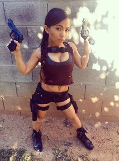 Naked girl midget with gun