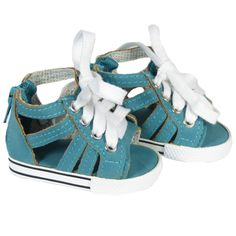 American Girl Doll  Shoes - Silly Monkey - Teal Gladiator Sneaker Sandals, $7.00 (http://www.silly-monkey.com/products/teal-gladiator-sneaker-sandals.html)