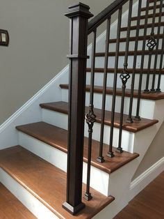 Handmade spindles & newel posts with hidden hardware. Handmade spindles & newel posts with hidden hardware. Interior, Home Stairs Design, Railing Design, Interior Railings, Wrought Iron Stairs, Stairway Design, Interior Staircase, Brown Tile Bathroom, Handrail Design
