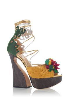 ad8ccdb71fe Chica Chica Boom Lace Up Platform Sandal by CHARLOTTE OLYMPIA for Preorder  on Moda Operandi Metallic