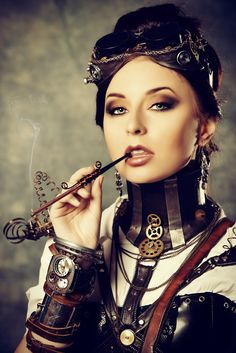 Smoking Steampunk Chick - cigarette, arm cuff, neck cuff...what is that thing?