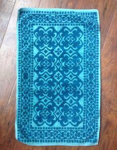 Vintage Fieldcrest Hand Towel Jacquard Blue Turquoise Mid Cent 16 x 27 Geometric #Fieldcrest