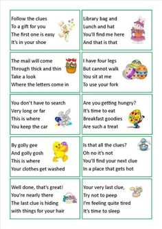 Easter egg and basket hunt ideas scavenger hunt clues easter and we have done this a few times makes it much harder for older kids to find the easter treat so much funwish my kids were still little clue cards ideas negle Gallery