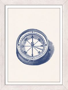 Nautical print poster Old compass in blue sea by seasideprints, $12.00