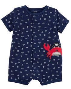 Baby Boy Crab Snap-Up Cotton Romper   Carters.com