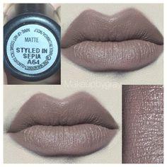 MAC COSMETICS Styled In Sepia Matte. Soft neutral brown lipstick