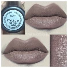 MAC COSMETICS Styled In Sepia Matte. Soft neutral brown lipstick