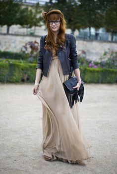 maxi + leather jacket (outfit inspiration for Spain!)