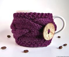Purple Cup Cozy - Coffee Cozy - Coffee Sleeve -   ohtteam Eggplant Plum Blueberry theteam Chunky Knit - Back to School - Fall Autumn