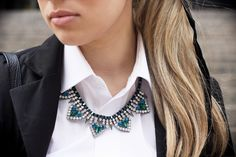 Glamgerous looking super glam in our Blue Crystal Spike Necklace!