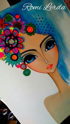 ROMI LERDA ART Painting Of Girl, Fabric Painting, Art Drawings For Kids, Art For Kids, Frida Art, Rock Crafts, Art Journal Inspiration, Whimsical Art, Art Plastique