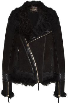 Roberto Cavalli Shearling and leather-trimmed suede jacket | NET-A-PORTER