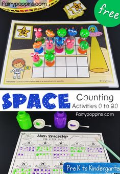 These FREE space counting activities help kids develop their fine motor and counting skills. They focus on the numbers 1 to Space Theme Preschool, Space Activities For Kids, Kindergarten Math Activities, Counting Activities, Teaching Math, Preschool Activities, Number Activities, Kindergarten Centers, Learning Numbers