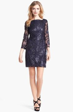 Adrianna Papell Sequin Lace Dress (Regular & Petite) available at #Nordstrom