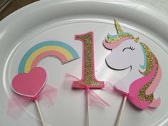 Unicorn centerpiece, Unicorn birthday banner, Unicorn pary decorations, Unicorn party, Unicorn by MindysPaperPiecing on Etsy