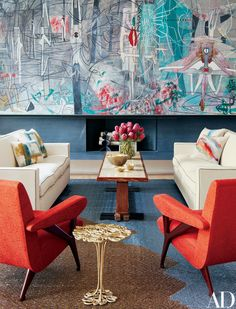 In the living room of Clarissa and Edgar Bronfman's Manhattan apartment, Jean-Michel Frank sofas and a Paul Dupré-Lafon cocktail table are arranged on a Jorge Lizarazo rug crafted to complement the Roberto Matta painting.
