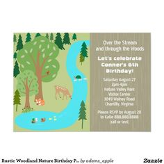 Zip line lining birthday party card zip birthdays and party rustic woodland nature birthday party 45x625 paper invitation card cute illustration of a forest scene with water stream and pond stopboris Gallery