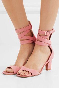 Slight heel  Pastel-pink suede  Zip fastening along back, buckle-fastening ankle strap  Designer color: Water Rose Made in Italy