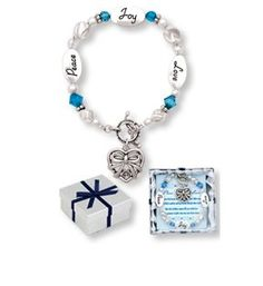Peace Joy Love Blue Christmas Holiday Expressively Yours Bracelet