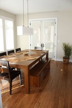Teak table and bench - Contemporary - Dining room - Photos by Lift Interiors | Wayfair