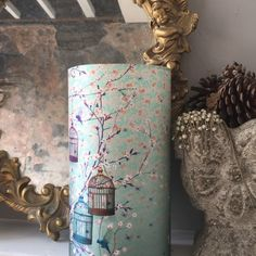 This week (29.8 - 4.9.16) ITEMS ON SALE! 'Melodie' shade by ChaCha by Iris. Luxury silk cylindrical shade with a magical nature scene with open bird cages and free birds fluttering about. Subtle colours for a soft light atmosphere.
