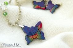 Polymer clay rainbow butterfly pendant and earrings (using extruder) Rainbow Butterfly, Butterfly Pendant, My Works, Tassel Necklace, Polymer Clay, Creative, Earrings, Jewelry, Fimo