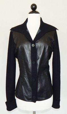 LAFAYETTE 148 Black Leather & Ribbed Merino Wool Sweater Cardigan Jacket  Size M #Lafayette148NewYork #Cardigan