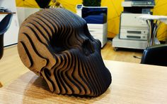 Cráneo en MDF cortado y ensamblado en DILABS diseño https://www.behance.net/search?search=DILABS