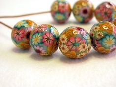 Fall Beads. Handmade floral beads. Polymer clay by sigalsart